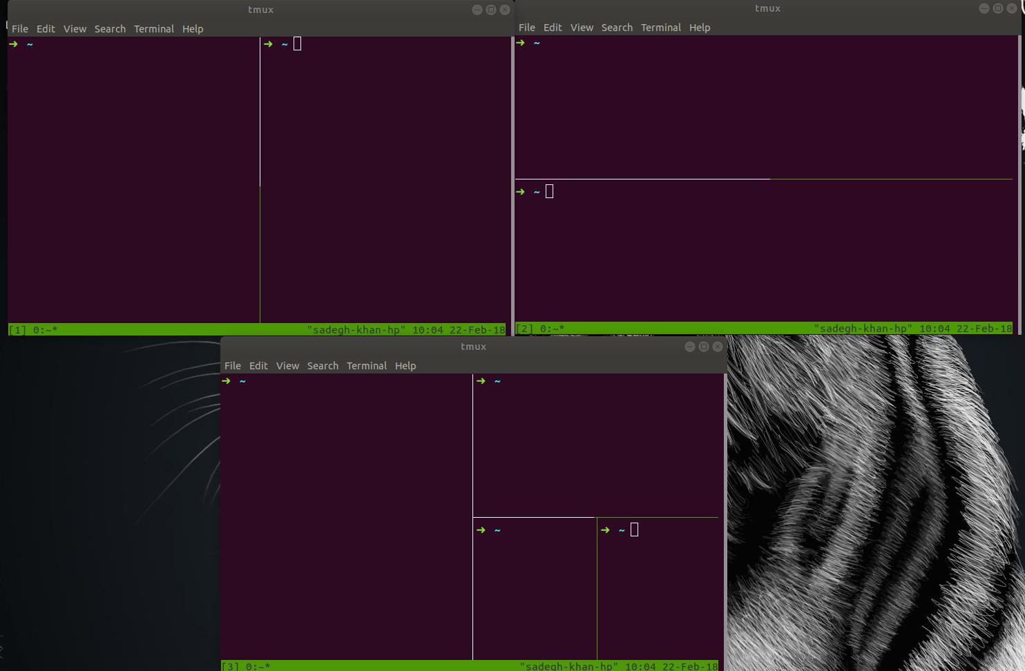 تقسم صفحه در tmux